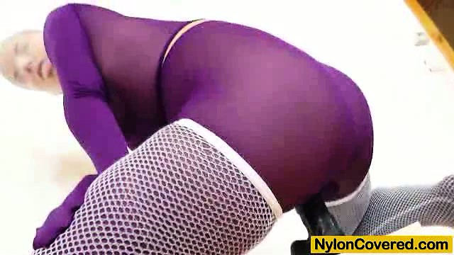Porno Video of Riding A Fake Penis In Panty-hose