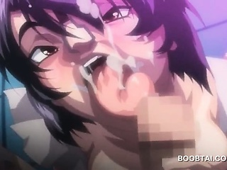 close up with busty hentai girl giving hardcore blowjob