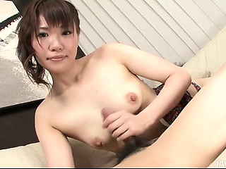 lovely japanese honey kana mimura gives her man a jerk job