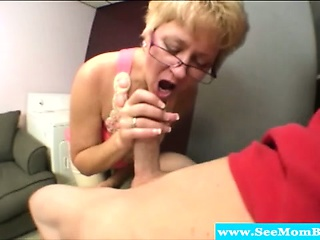 blonde mature sucking on his young cock