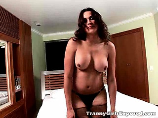 excited brunette tranny girl in stockings suzy getting ass