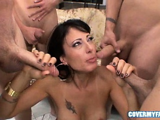 zoey whips out her tits before gang sucking dicks