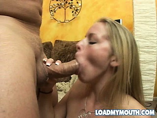 blonde babe gives brandon a blowjob before he loads up her