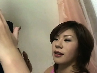 asian schoolgirl gives a blow job