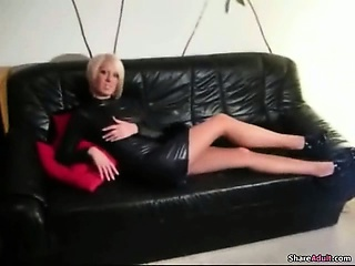 this blonde nympho gives a hot blowjob on sofa