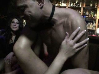 busty brunette gets fucked good in front of friends