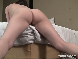 busty brunette megan rubbing her bald pussy