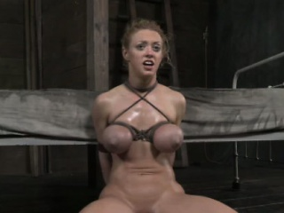 tied up skank in threesome gets double penetrated