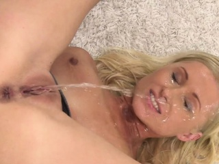 blonde babe pissing on her pretty face
