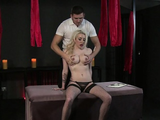 blindfolded bdsm blonde strapped and rubbed