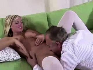 hot blonde in stockings fucking older british dude