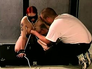 depraved ginger embraces the pain in this extreme bdsm scene