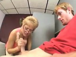 blonde granny giving a great blowjob