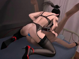 animated chick sharing double dildo