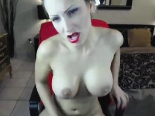 big tit blonde sucks her dildo toy