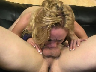 pretty blonde getting her face pushed down in to dick