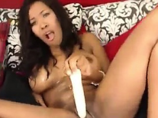 sexy ebony slut masturbates and squirts