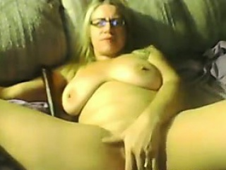 fat blonde woman masturbates on camera
