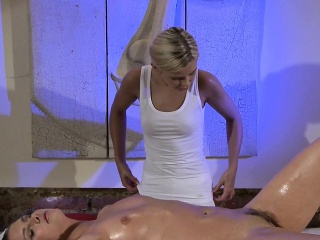 hairy pussy brunette gets massage