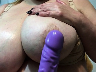 mature lady with really big tits close up