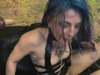 blue haired orion star getting her face fucked brutally hard
