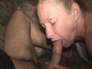wrinkled up blonde street whore sucking dick for dollars