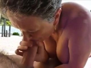 grandma giving an amazing blowjob pov