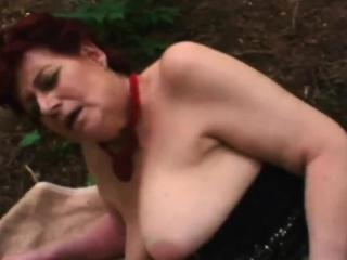 horny brunette granny greedily sucks dick and fucks in park