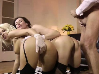 older british guy with wife and girl in stockings