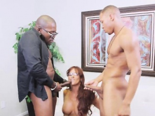 redhead milf sucks black dicks and gets double penetrated