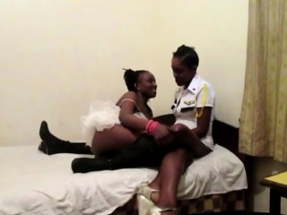 hot ebony lesbians toy their assholes with a dildo