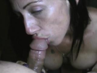 ugly fake titty brunette street whore sucking dick pov