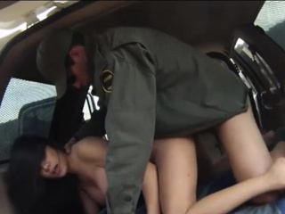 busty latina drilled by bp officer in the back of patrol car
