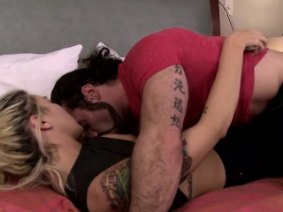 blonde shemale aubrey kate sucks dick and gets banged on bed