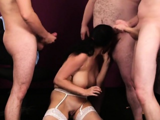 peculiar sex kitten gets cumshot on her face eating all the
