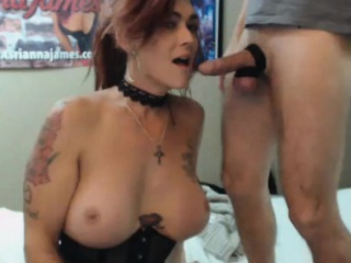 busty tranny loves to suck cock and balls