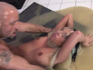 slimy girl gets covered and fucked hard in filth