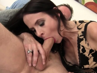 mature woman swallows cock in mouth and pussy
