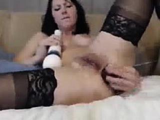 busty brunette big glass dildo anal and hitachi orgasm