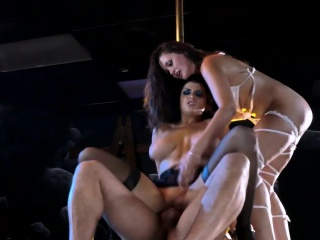 two lusty club strippers horny threesome with nasty man