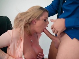 sexy chick brooklyn chase devours huge cock of boss
