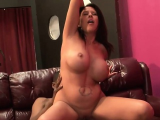 naughty interracial action with a busty brunette