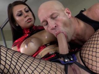 busty dominatrix fingerfucking her slave
