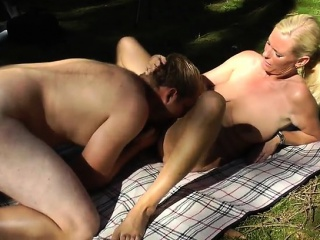 mature amateur wife sucks and fucks outdoor with facial