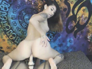 horny babe strips and masturbates her wet pussy