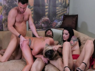 one lucky guy gets his cock pleasured by two handsome sluts