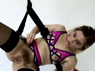attractive blonde whore gets her hairy love tube smashed