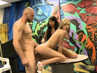very tight blonde and brunette hot orgy by horny dude