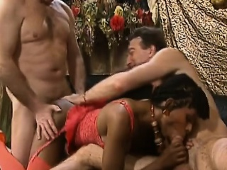 african chick gets banged by two white cocks