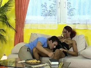 a sexy redhead ebony babe gets her pussy licked and fucked